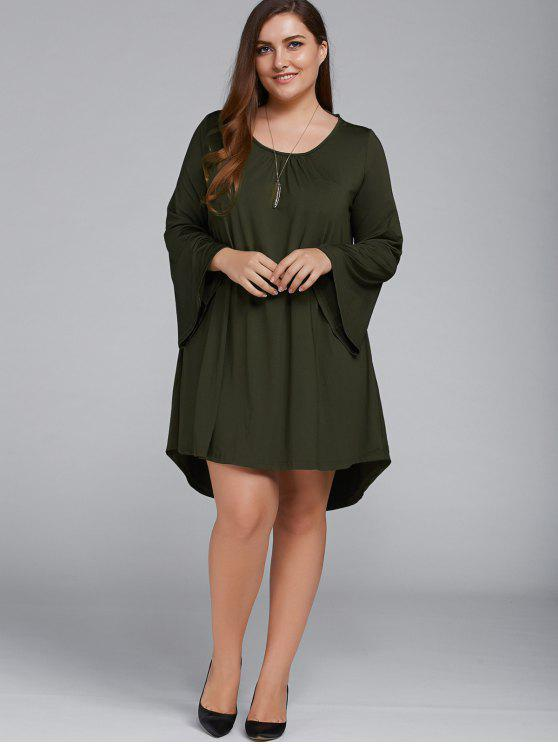 Más el tamaño ata para arriba el vestido de la llamarada mangas - Verde Oliva XL