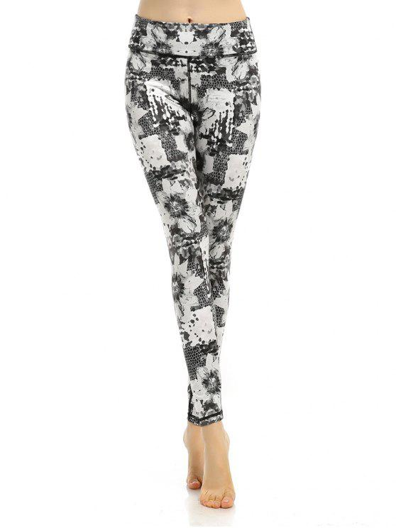 Stretchy Sporty Abstract Printed Gym Pants - Grigio L