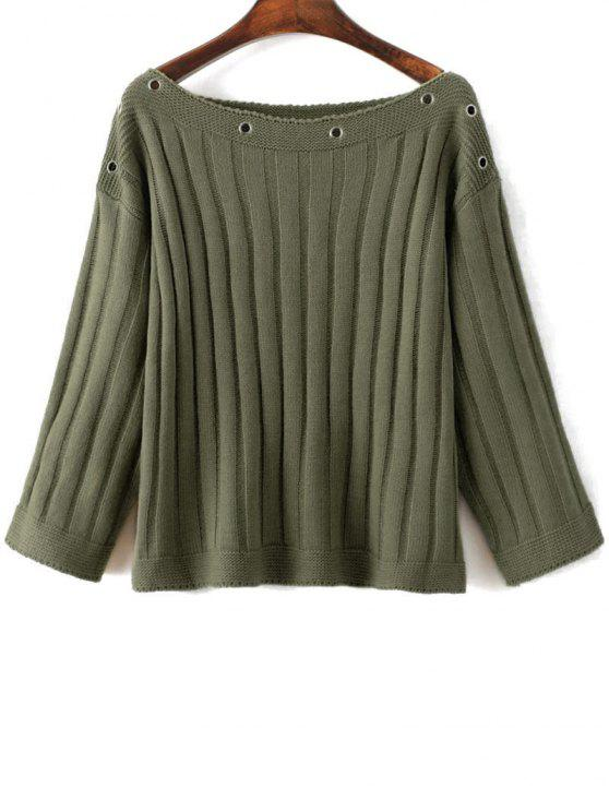 lady Slash Neck Ribbed Jumper - GREEN ONE SIZE