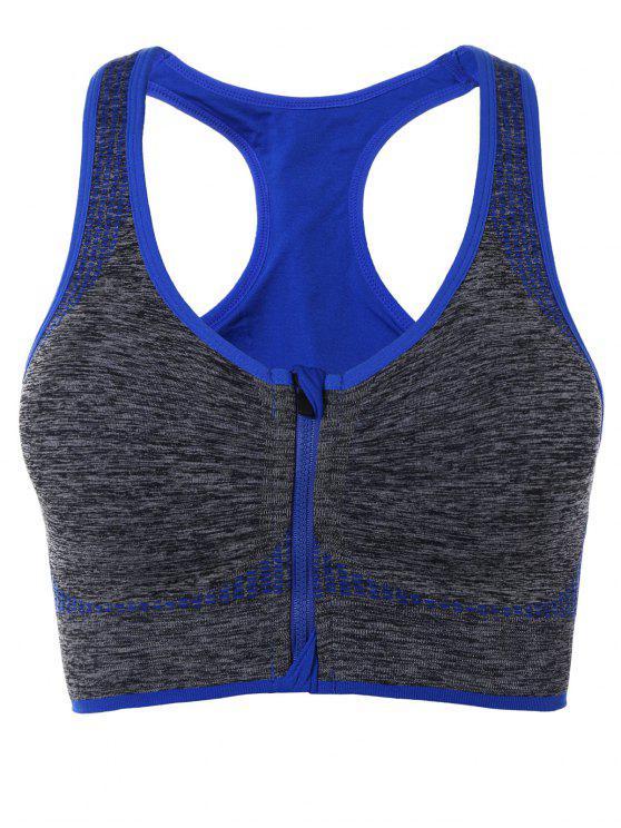 best Racerback Zip Up Sports Bra - BLUE L