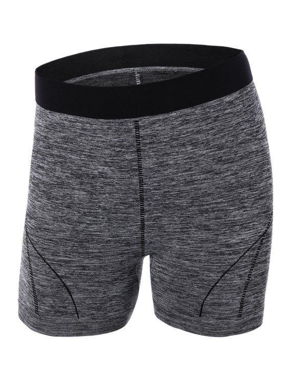 women's Sporty Color Block Yoga Shorts - GRAY L