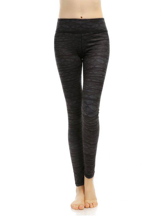 best Geometric Stretchy Print Leggings - BLACK GREY M