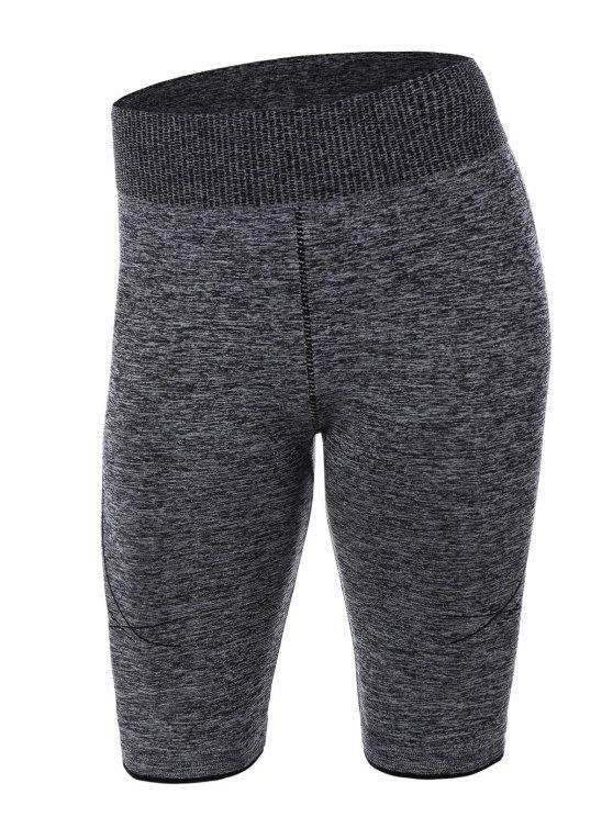 fashion Knee Length Skinny Yoga Shorts - GRAY M
