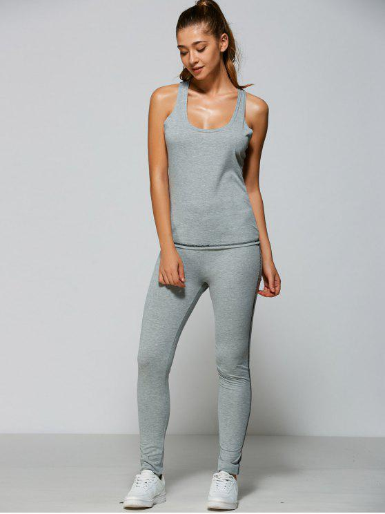 women Tank Top + Bodycon Leggings - GRAY XL