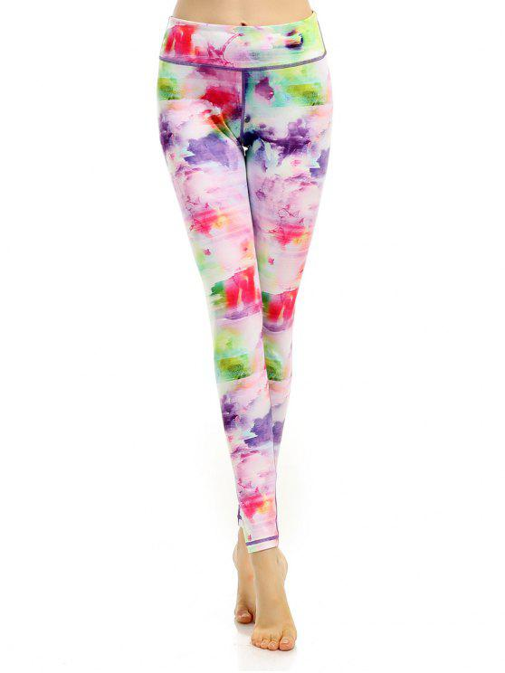 outfits Breathable Multicolor Printed Stretchy Leggings - COLORFUL L