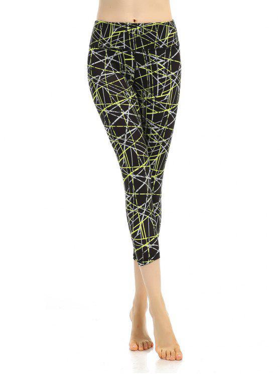 fashion Printed Elastic Waist Sporty Cropped Leggings - BLACK S