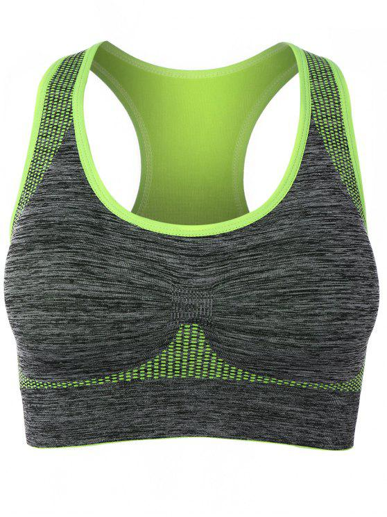 chic Padded Racerback Gym Sports Bra - FLUORESCENT YELLOW L