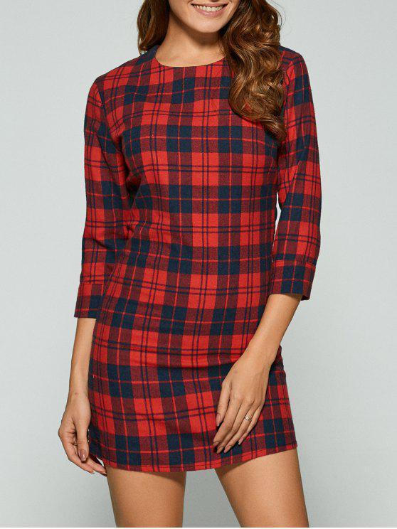3/4 mangas Mini Plaid vestido casual - Rojo L