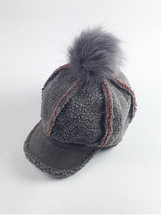 Paño grueso y suave de la bola de Pom embellecido el sombrero de béisbol - Gris