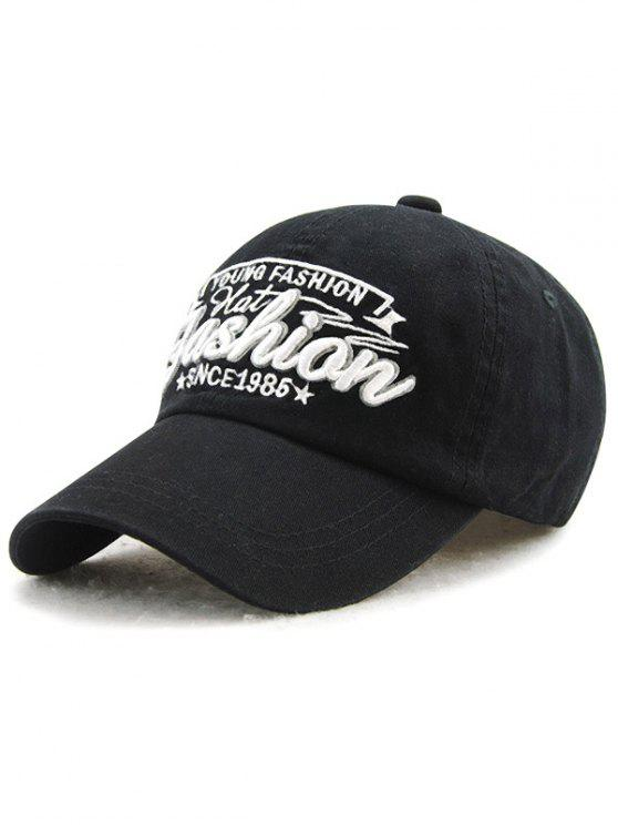 unique Adjustable Outdoor Letters Embroidery Baseball Cap - BLACK