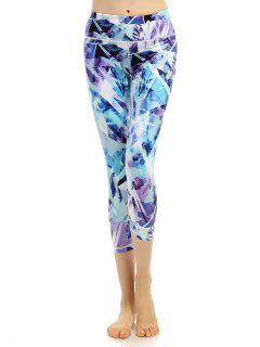 Sporty Stretchy Printed Cropped Leggings - Bluish Violet Xl