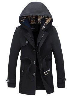 Belted Plush Fleece Hooded Woolen Tweed Coat - Black M