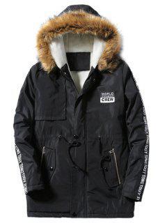 Furry Hood Applique Drawstring Fleece Coat - Black L