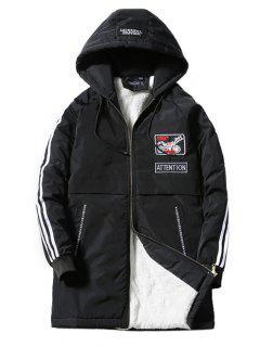 Hooded Stripe Selvedge Embellished Applique Lengthen Fleece Coat - Black M