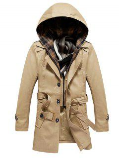 Buttoned Detachable Hooded Belted Coat - Khaki M