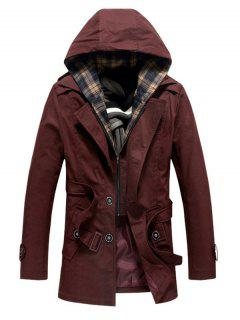 Buttoned Detachable Hooded Belted Coat - Wine Red 4xl