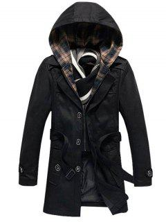 Buttoned Detachable Hooded Belted Coat - Black M