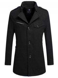 Single Breasted Turn Down Collar Woolen Coat - Black 3xl