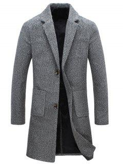 Manteau Pocket Lapel Single-breasted Laine Tweed - Gris M