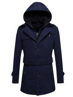 Hooded Belted Tweed Fleece Woolen Coat - Cadetblue M