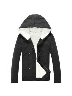 Plush Inside Snap Button Zip Up Hooded Coat For Men - Black M