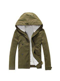 Plush Inside Snap Button Zip Up Hooded Coat For Men - Army Green M