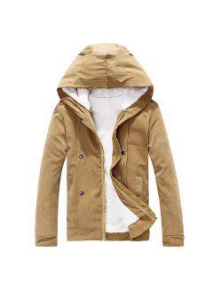Plush Inside Snap Button Zip Up Hooded Coat For Men - Camel L