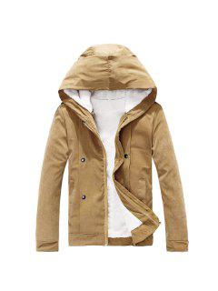 Plush Inside Snap Button Zip Up Hooded Coat For Men - Camel M