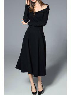 Off The Shoulder Long Sleeve Dress - Black Xl