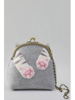 Kiss Lock Cat Pads Crossbody Bag - Gray