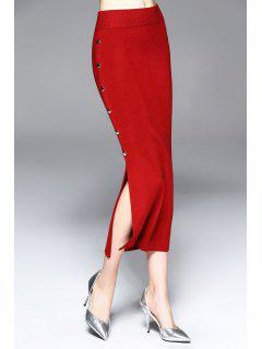 Side Slit Tea Length Jersey Skirt - Wine Red