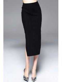 Side Slit Tea Length Jersey Skirt - Black