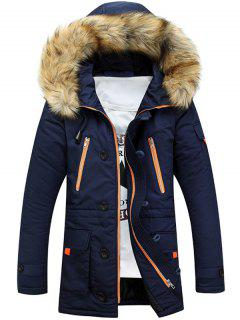 Faux Fur Hooded Zip Up Multi-Pocket Padded Coat - Blue L