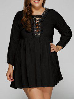 Lace Up Plus Size Smock Dress - Black