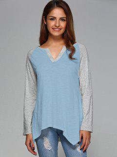 Raglan Sleeve Asymmetrical Tee - Light Blue M