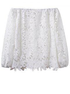 Crochet Off The Shoulder T-Shirt - White S