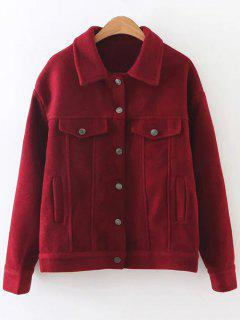 Woolen Blend Cropped Coat - Wine Red M