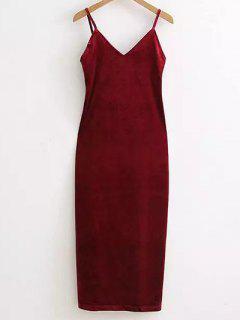 Side Furcal Velour Slip Dress - Wine Red