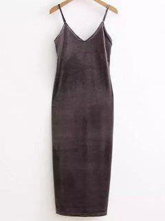 Side Furcal Velour Slip Dress - Gray