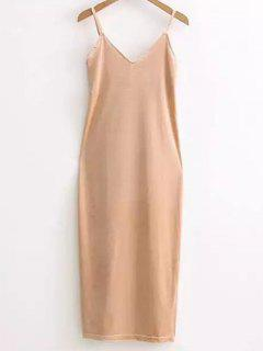Side Furcal Velour Slip Dress - Camel