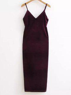 Side Furcal Velour Slip Dress - Deep Purple