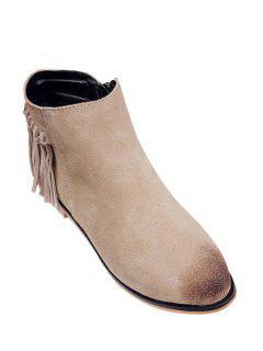 Flat Heel Fringe Suede Ankle Boots - Light Camel 38