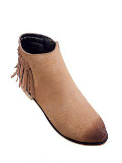 Flat Heel Fringe Suede Ankle Boots - Light Brown 38
