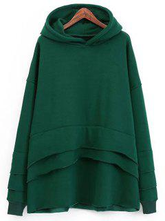 Layered Fleece Hoodie - Green
