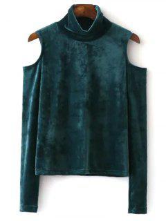 T-shirt En Velours à Col Haut à épaules Dénudées  - Vert S