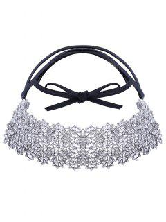 Rhinestone Wide Tiered Choker - White