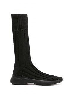 Platform Knitted Mid-Calf Boots - Black 38
