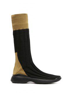 Platform Knitted Mid-Calf Boots - Brown 38
