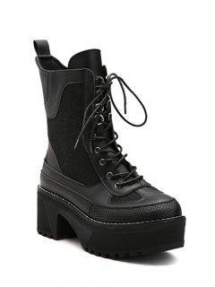Splicing Platform Lace-Up Combat Boots - Black 37