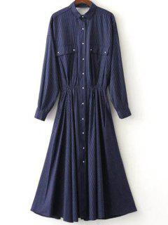 Striped Button Up Maxi Shirt Dress - Purplish Blue S
